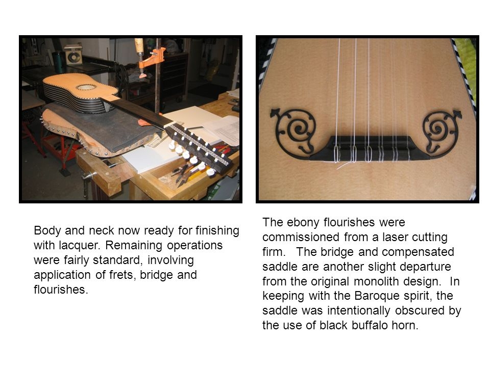 Body and neck now ready for finishing with lacquer. Remaining operations were fairly standard, involving application of frets, bridge and flourishes.