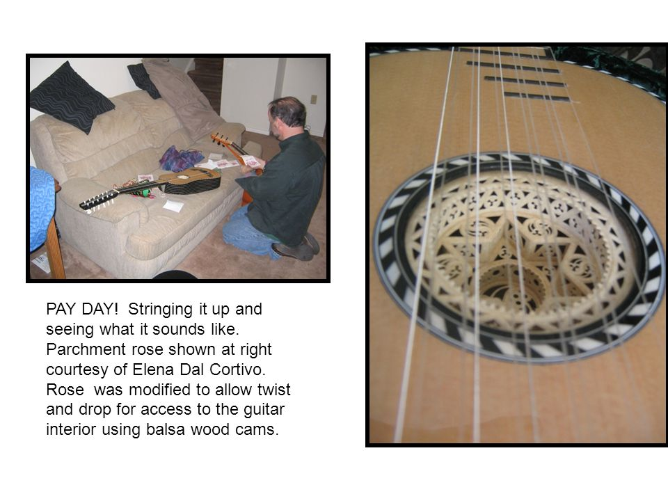 PAY DAY! Stringing it up and seeing what it sounds like. Parchment rose shown at right courtesy of Elena Dal Cortivo. Rose was modified to allow twist