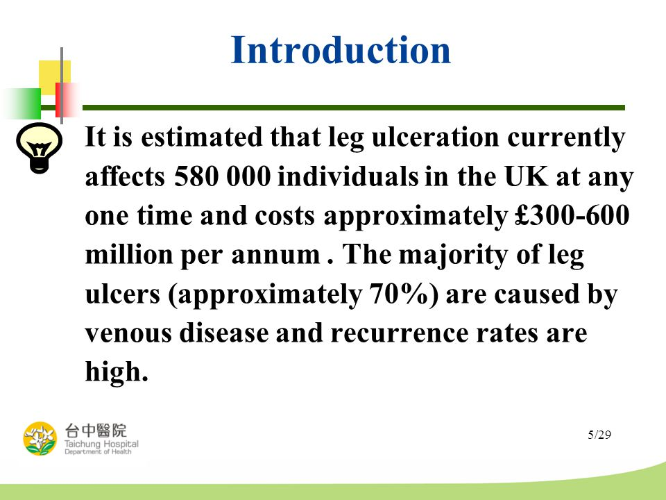 5/29 Introduction It is estimated that leg ulceration currently affects 580 000 individuals in the UK at any one time and costs approximately £300-600 million per annum.