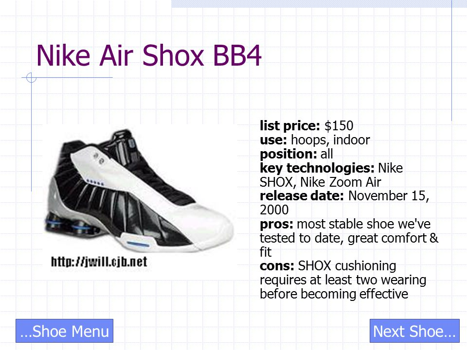 Nike Air Shox BB4 list price: $150 use: hoops, indoor position: all key technologies: Nike SHOX, Nike Zoom Air release date: November 15, 2000 pros: most stable shoe we ve tested to date, great comfort & fit cons: SHOX cushioning requires at least two wearing before becoming effective Next Shoe……Shoe Menu
