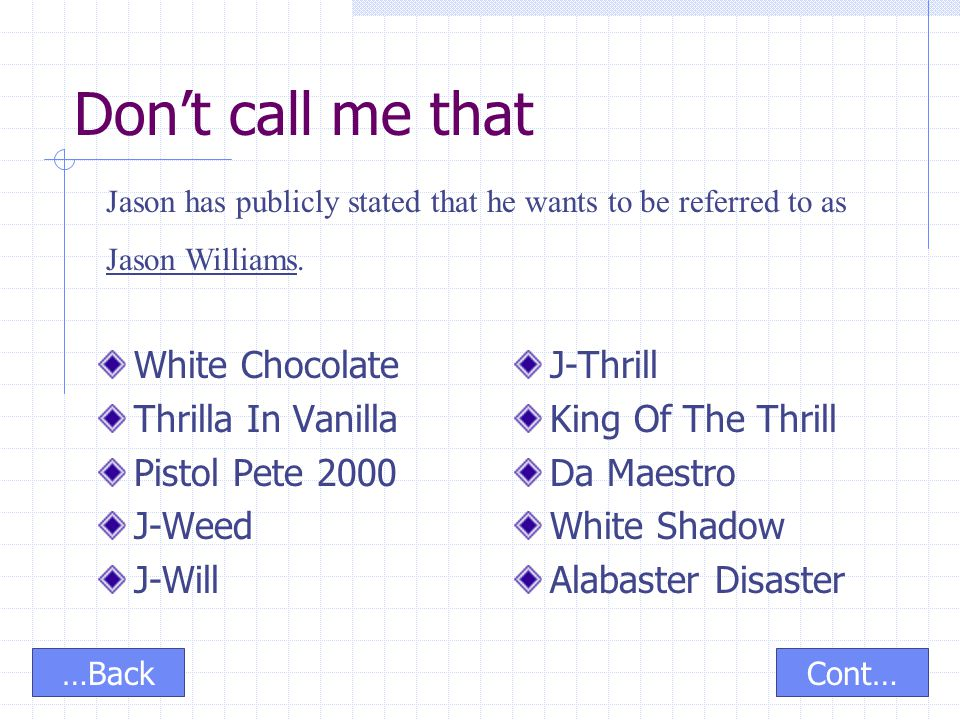 Don't call me that White Chocolate Thrilla In Vanilla Pistol Pete 2000 J-Weed J-Will J-Thrill King Of The Thrill Da Maestro White Shadow Alabaster Dis
