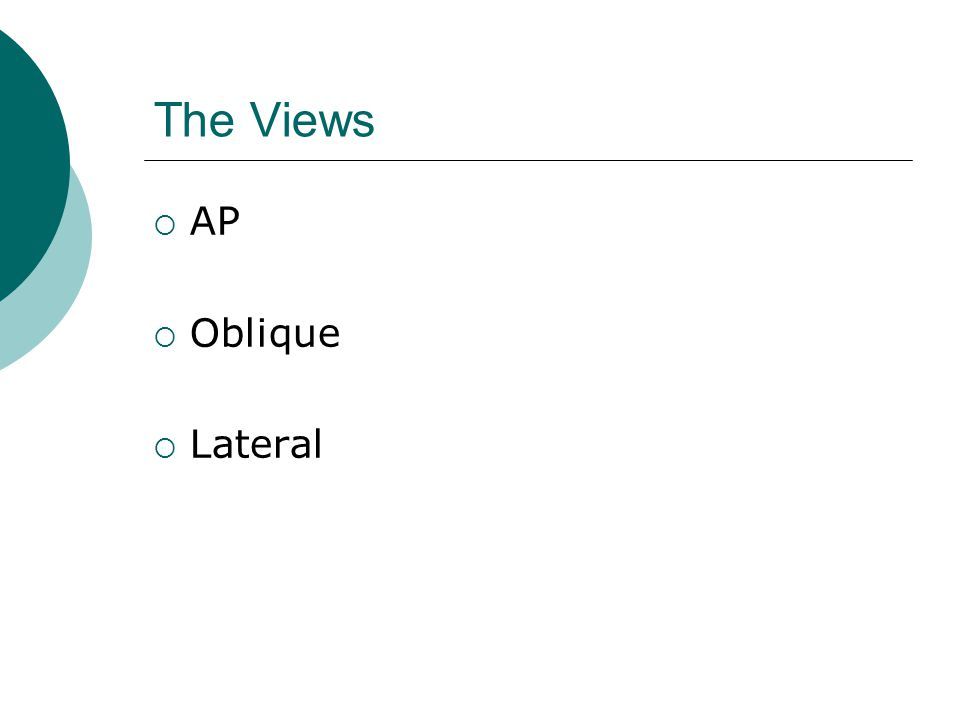 The Views  AP  Oblique  Lateral