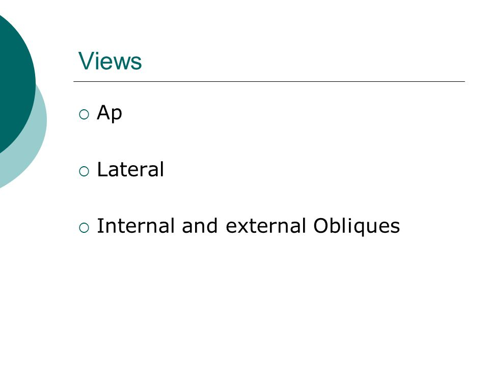 Views  Ap  Lateral  Internal and external Obliques