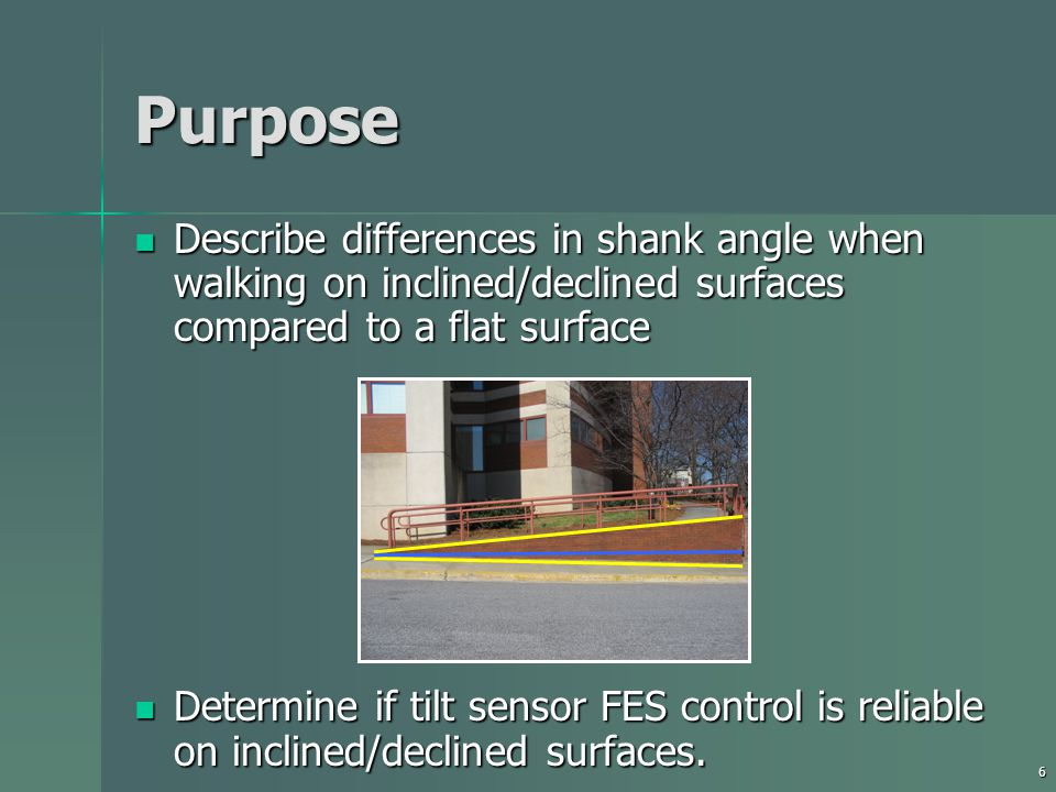 6 Purpose Describe differences in shank angle when walking on inclined/declined surfaces compared to a flat surface Describe differences in shank angle when walking on inclined/declined surfaces compared to a flat surface Determine if tilt sensor FES control is reliable on inclined/declined surfaces.