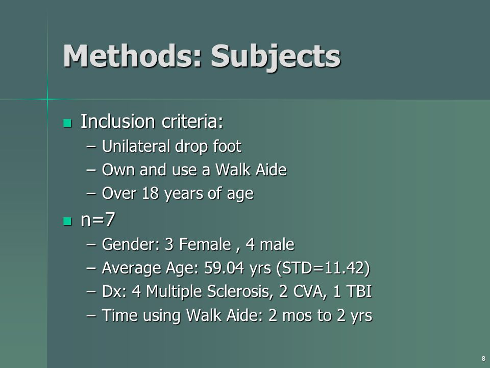 8 Methods: Subjects Inclusion criteria: Inclusion criteria: –Unilateral drop foot –Own and use a Walk Aide –Over 18 years of age n=7 n=7 –Gender: 3 Female, 4 male –Average Age: 59.04 yrs (STD=11.42) –Dx: 4 Multiple Sclerosis, 2 CVA, 1 TBI –Time using Walk Aide: 2 mos to 2 yrs