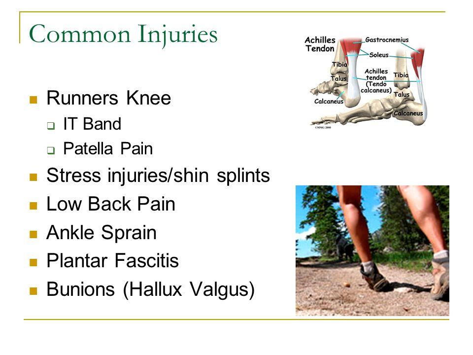 Common Injuries Runners Knee  IT Band  Patella Pain Stress injuries/shin splints Low Back Pain Ankle Sprain Plantar Fascitis Bunions (Hallux Valgus)