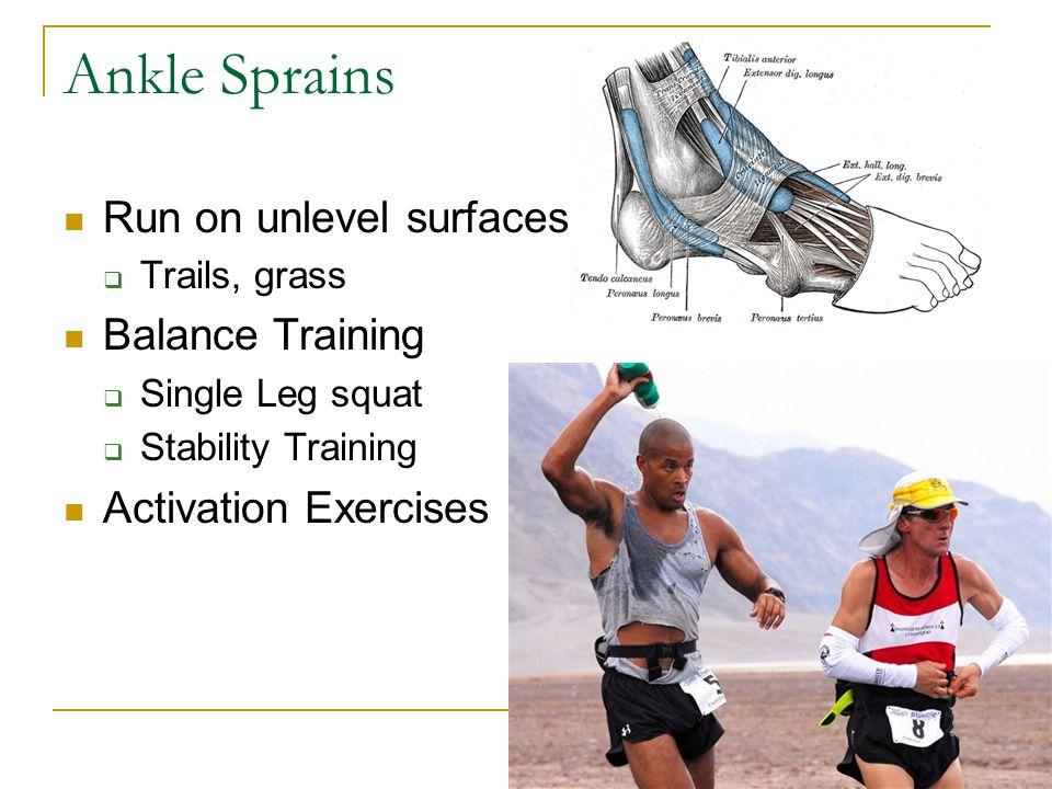Ankle Sprains Run on unlevel surfaces  Trails, grass Balance Training  Single Leg squat  Stability Training Activation Exercises