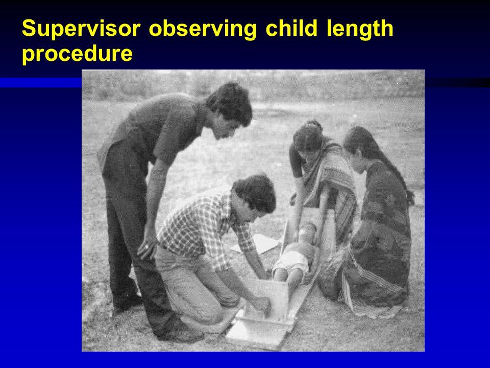 Supervisor observing child length procedure