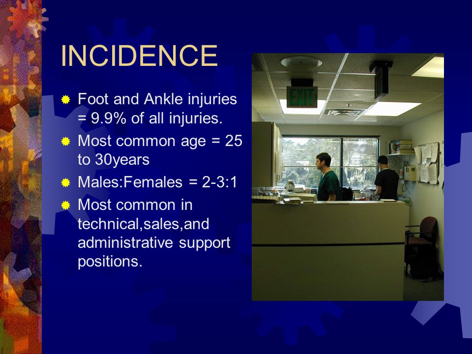 INCIDENCE  Foot and Ankle injuries = 9.9% of all injuries.  Most common age = 25 to 30years  Males:Females = 2-3:1  Most common in technical,sales
