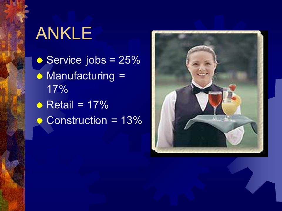 ANKLE  Service jobs = 25%  Manufacturing = 17%  Retail = 17%  Construction = 13%