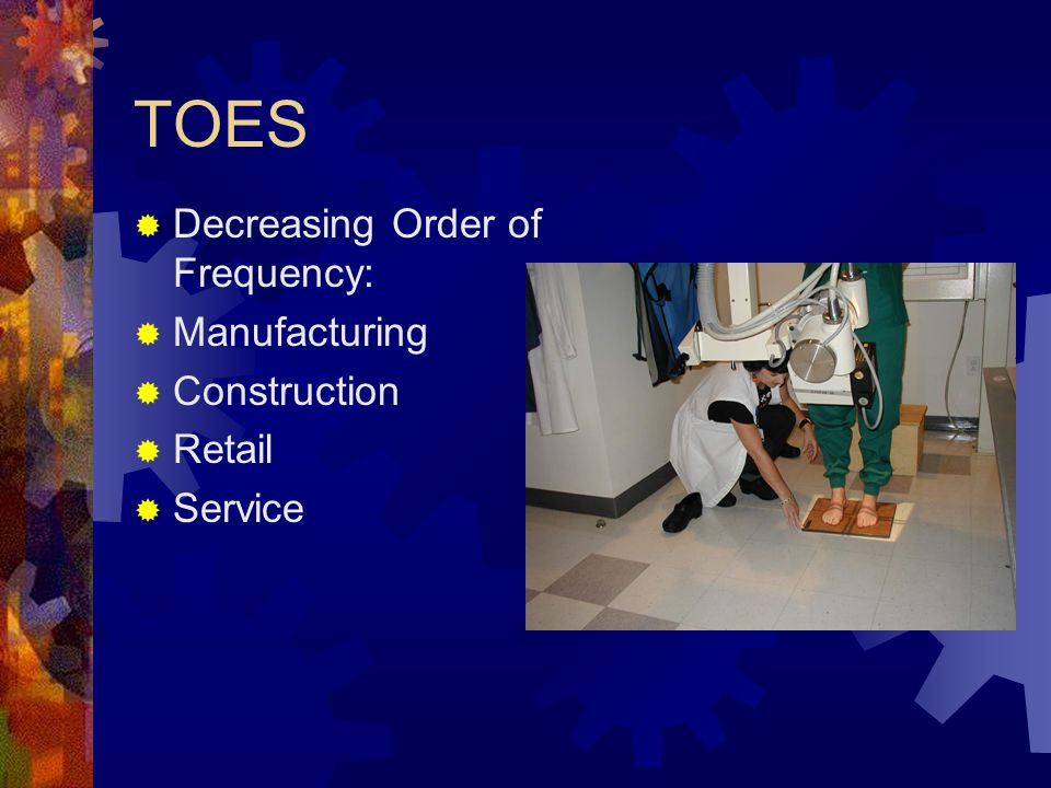 TOES  Decreasing Order of Frequency:  Manufacturing  Construction  Retail  Service