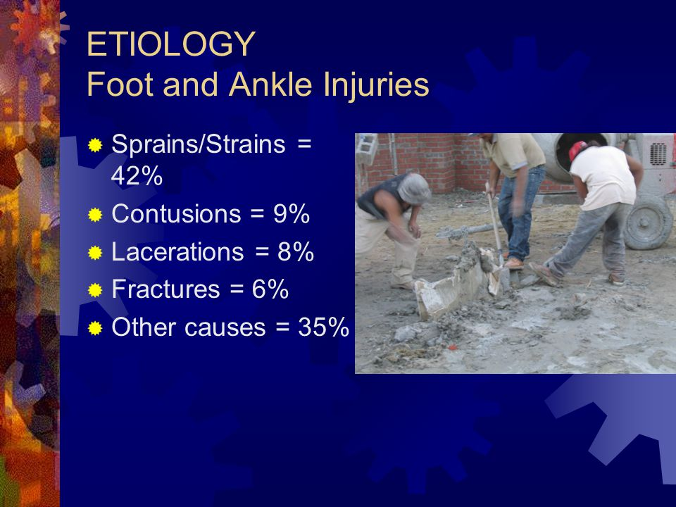 ETIOLOGY Foot and Ankle Injuries  Sprains/Strains = 42%  Contusions = 9%  Lacerations = 8%  Fractures = 6%  Other causes = 35%