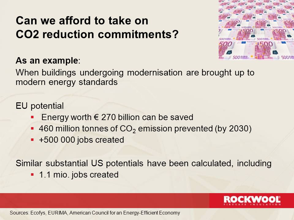 As an example: When buildings undergoing modernisation are brought up to modern energy standards EU potential  Energy worth € 270 billion can be save