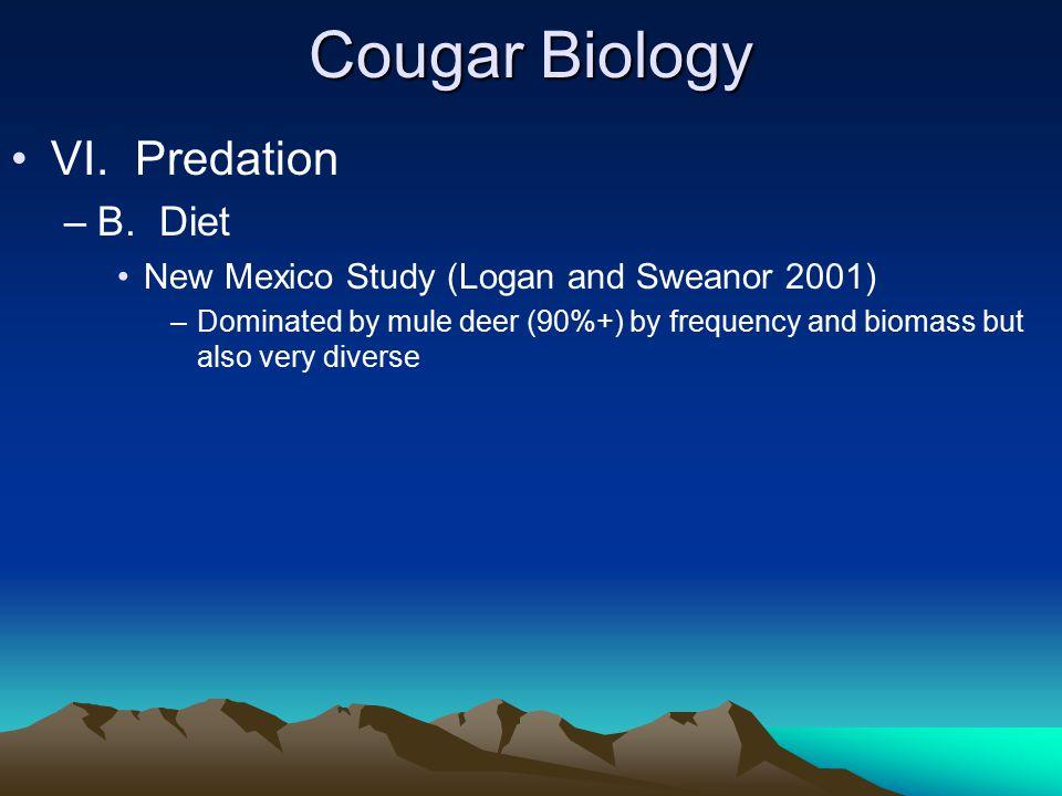 Cougar Biology VI. Predation –B.