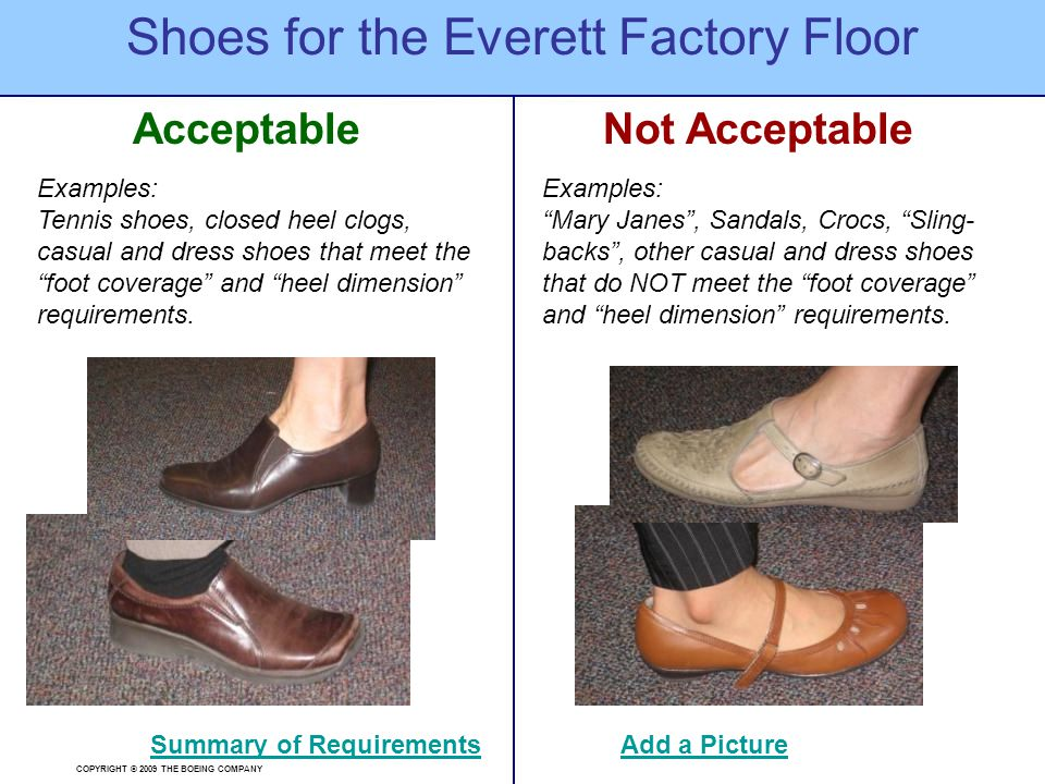 """COPYRIGHT © 2009 THE BOEING COMPANY AcceptableNot Acceptable Shoes for the Everett Factory Floor Summary of Requirements Examples: """"Mary Janes"""", Sanda"""