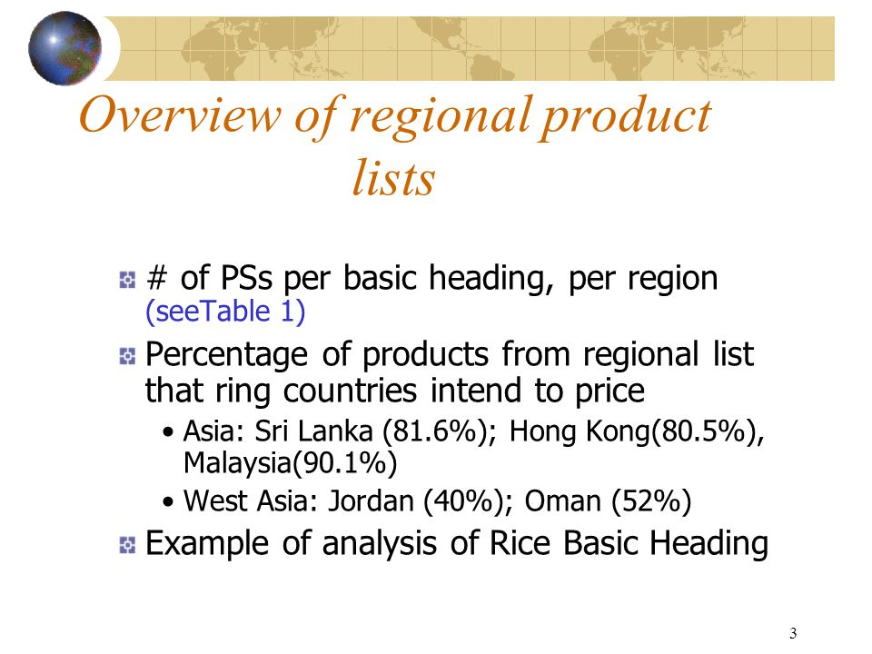 3 Overview of regional product lists # of PSs per basic heading, per region (seeTable 1) Percentage of products from regional list that ring countries