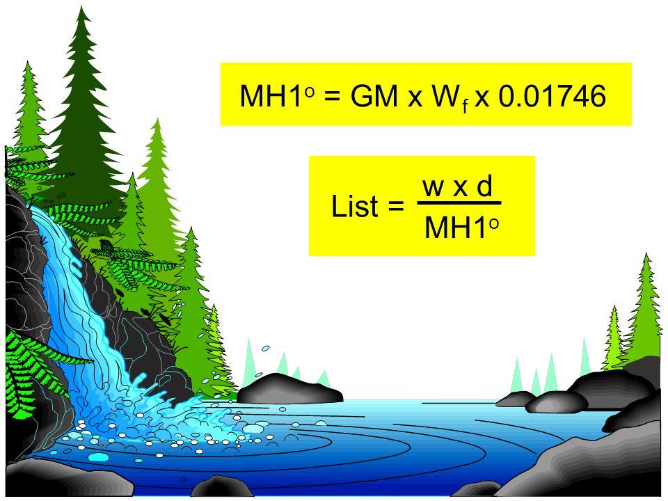 MH1 o = GM x W f x 0.01746 List = w x d MH1 o