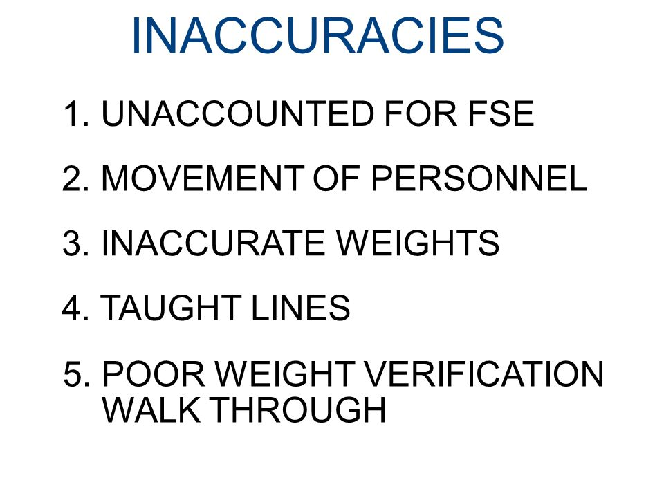 INACCURACIES 1.UNACCOUNTED FOR FSE 2. MOVEMENT OF PERSONNEL 3.