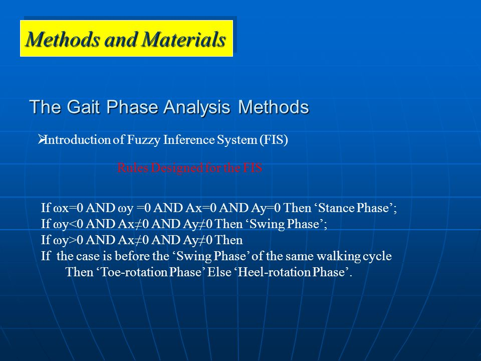 The Gait Phase Analysis Methods  Introduction of Fuzzy Inference System (FIS) Rules Designed for the FIS Methods and Materials If ωx=0 AND ωy =0 AND