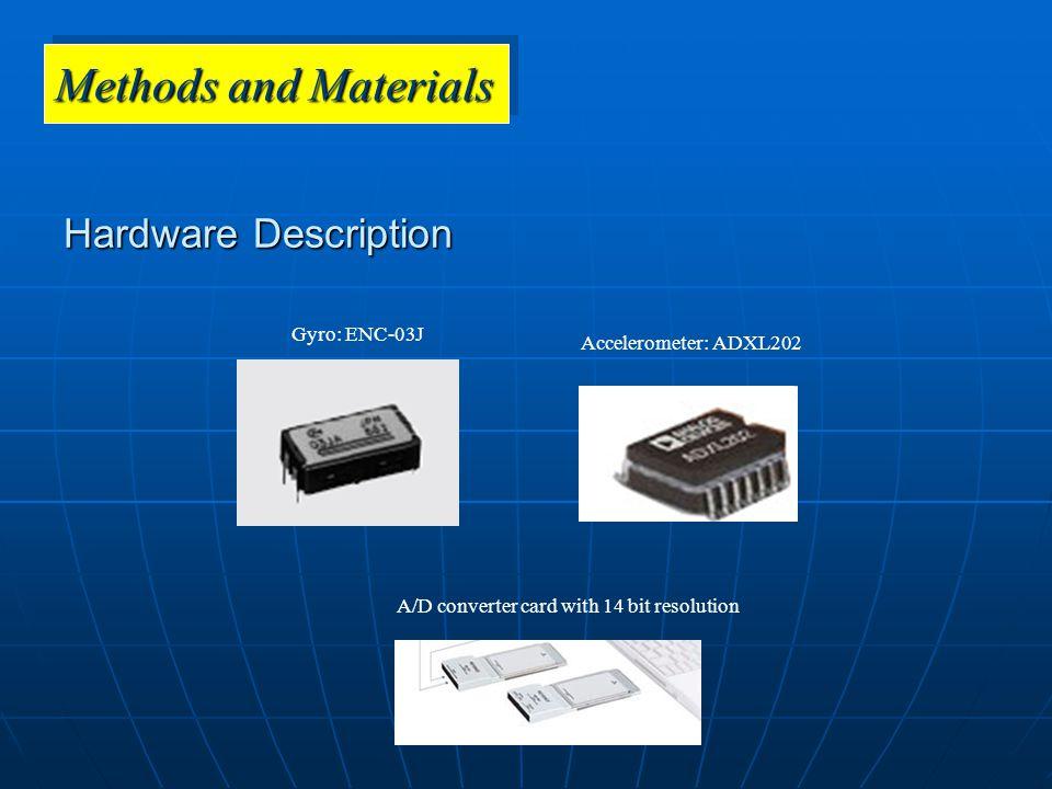 Methods and Materials Hardware Description Gyro: ENC-03J Accelerometer: ADXL202 A/D converter card with 14 bit resolution