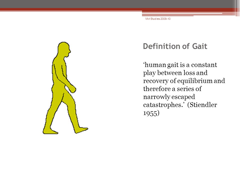 Definition of Gait 'human gait is a constant play between loss and recovery of equilibrium and therefore a series of narrowly escaped catastrophes.' (Stiendler 1955) Mvt Studies 2009-10