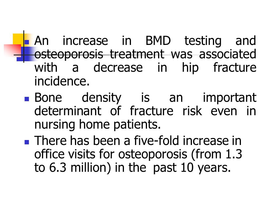 An increase in BMD testing and osteoporosis treatment was associated with a decrease in hip fracture incidence. Bone density is an important determina