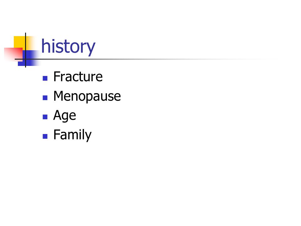 history Fracture Menopause Age Family