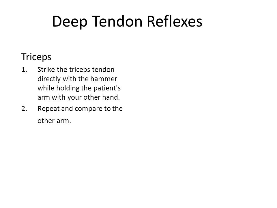Deep Tendon Reflexes Triceps 1.Strike the triceps tendon directly with the hammer while holding the patient s arm with your other hand.