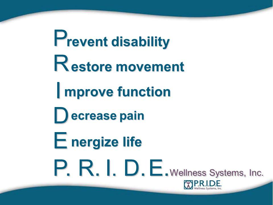 P revent disability R estore movement I mprove function D ecrease pain E nergize life P.R.