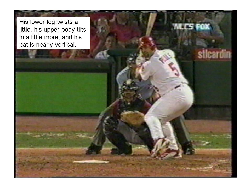 His lower leg twists a little, his upper body tilts in a little more, and his bat is nearly vertical.