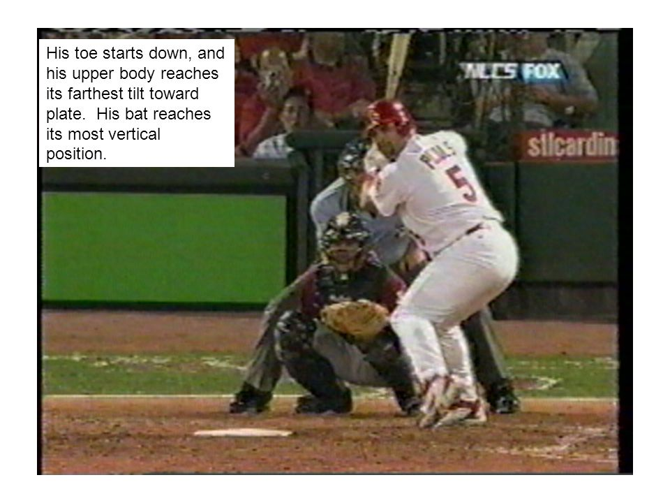 His toe starts down, and his upper body reaches its farthest tilt toward plate.