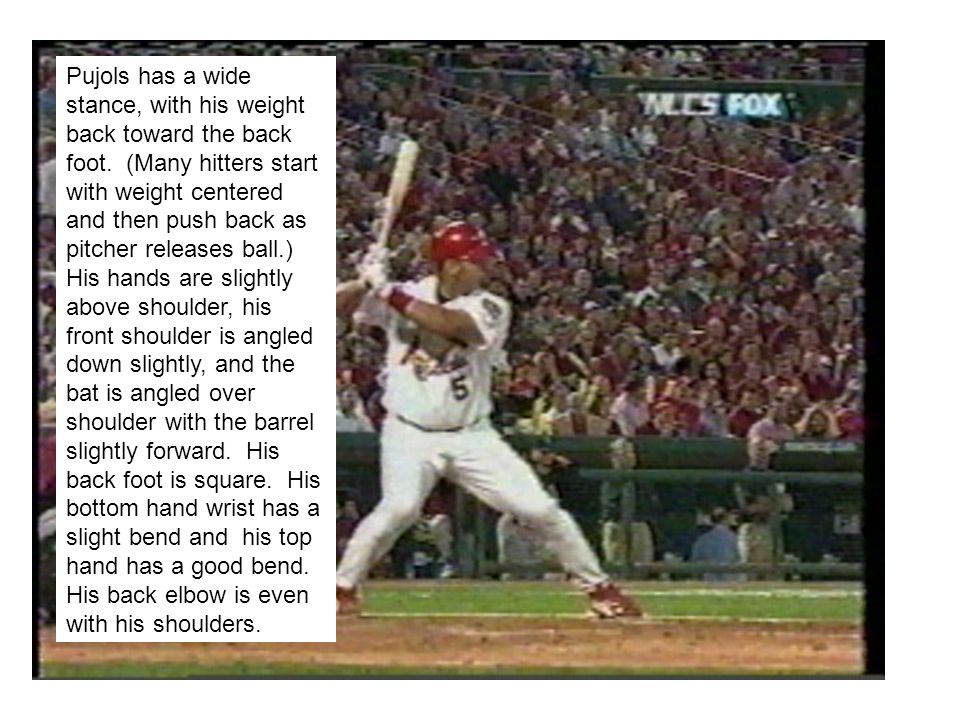 Pujols lifts his stride foot a few inches off the ground.