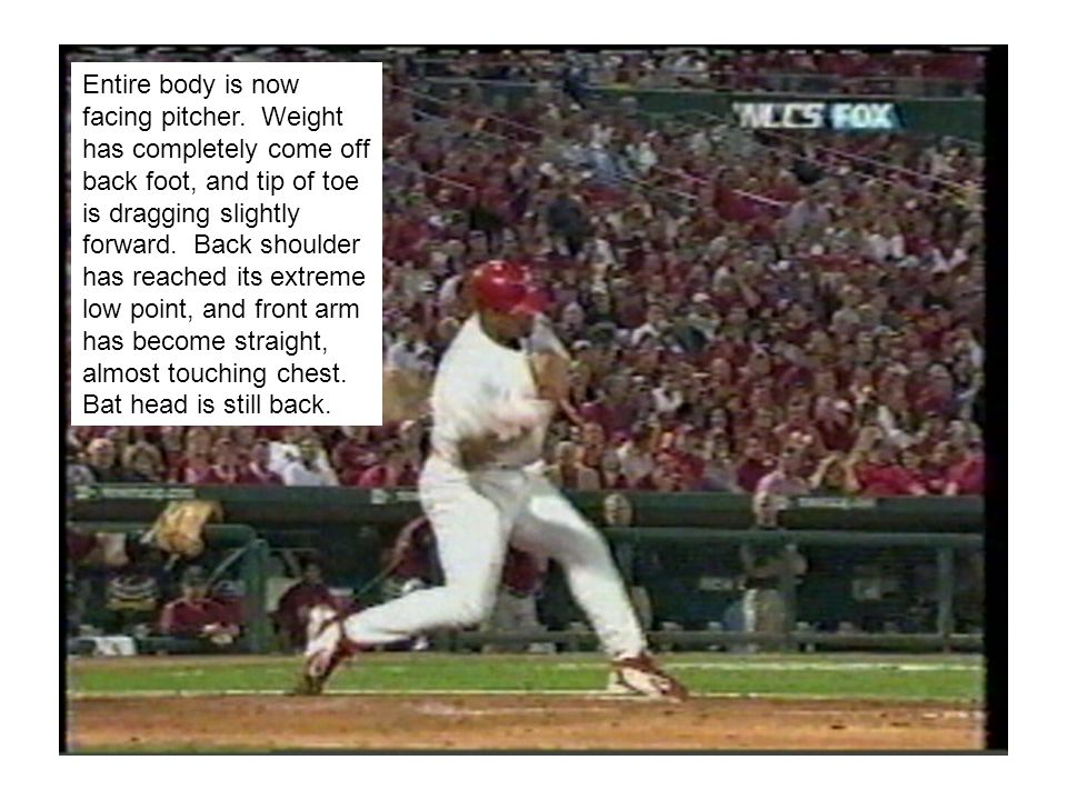 At contact, bat has snapped forward, front leg straightens, and back foot comes forward a few inches.