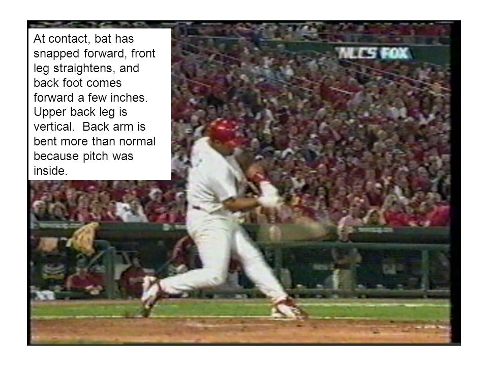 As bat comes through ball, front leg becomes almost hyper-extended.