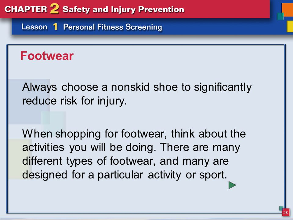 28 Footwear Always choose a nonskid shoe to significantly reduce risk for injury.