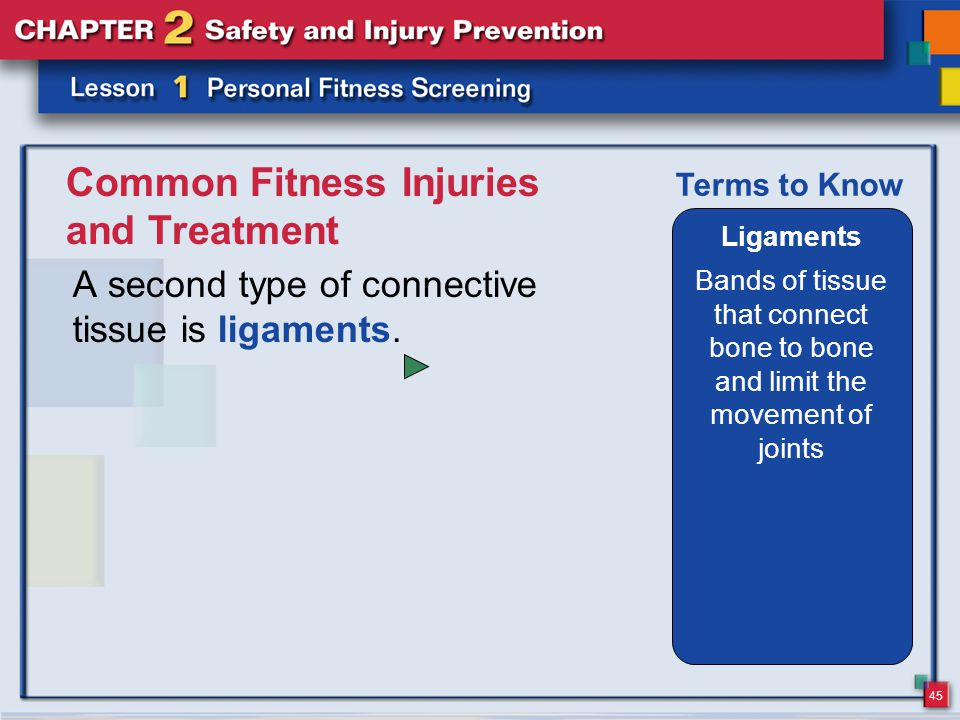 45 Common Fitness Injuries and Treatment A second type of connective tissue is ligaments.