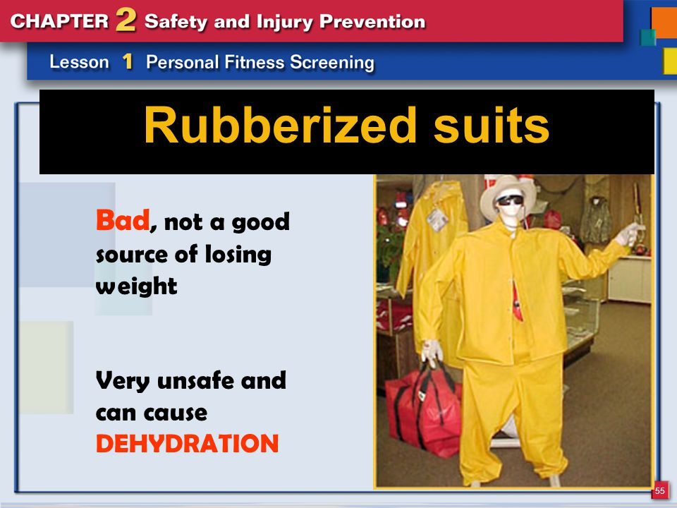 55 Rubberized suits Bad, not a good source of losing weight Very unsafe and can cause DEHYDRATION