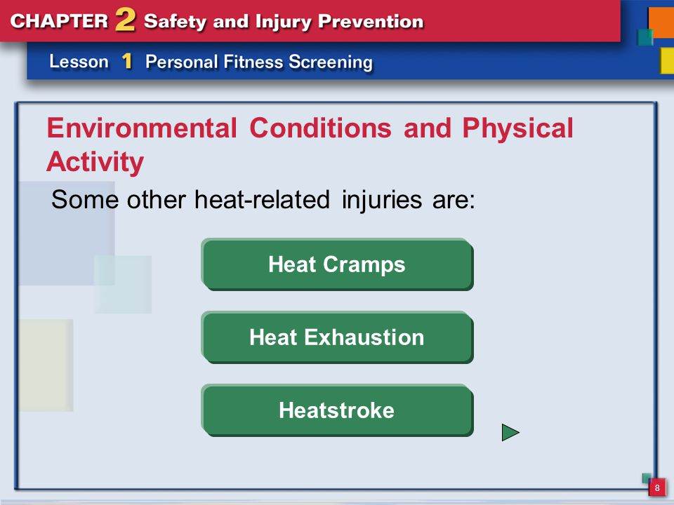 8 Environmental Conditions and Physical Activity Some other heat-related injuries are: Heat Cramps Heat Exhaustion Heatstroke