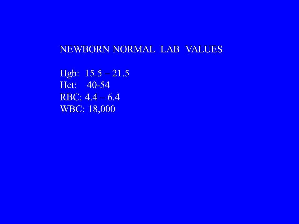 NEWBORN NORMAL LAB VALUES Hgb: 15.5 – 21.5 Hct: 40-54 RBC: 4.4 – 6.4 WBC: 18,000