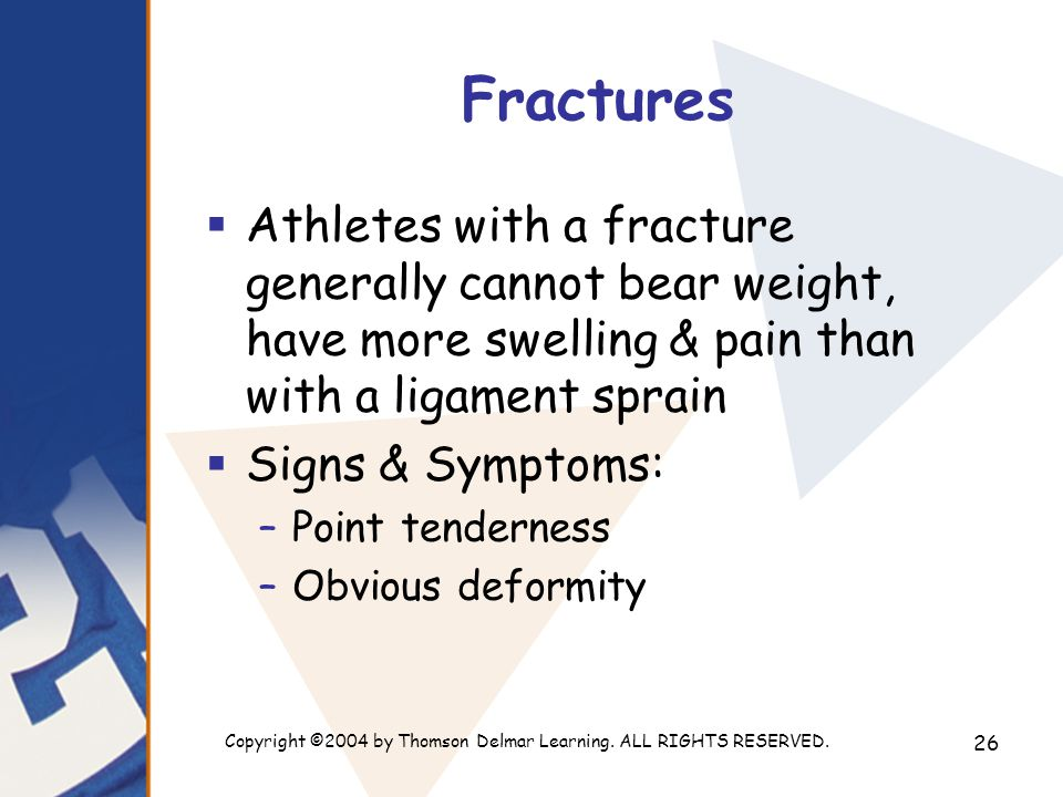 Copyright ©2004 by Thomson Delmar Learning. ALL RIGHTS RESERVED. 26 Fractures  Athletes with a fracture generally cannot bear weight, have more swell