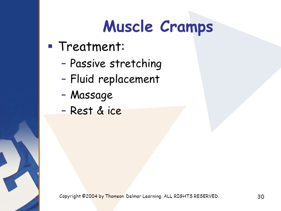 Copyright ©2004 by Thomson Delmar Learning. ALL RIGHTS RESERVED. 30 Muscle Cramps  Treatment: –Passive stretching –Fluid replacement –Massage –Rest &
