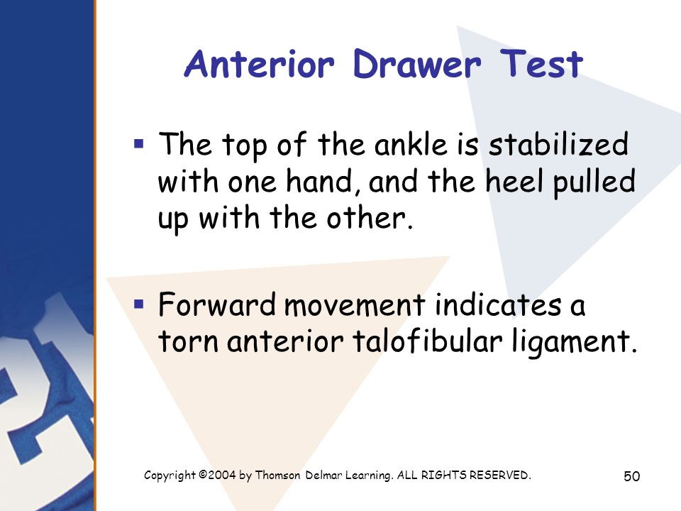 Copyright ©2004 by Thomson Delmar Learning. ALL RIGHTS RESERVED. 50 Anterior Drawer Test  The top of the ankle is stabilized with one hand, and the h