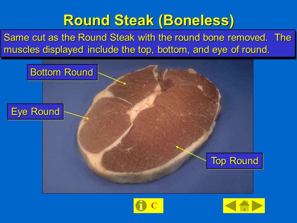 Round Steak (Boneless) Same cut as the Round Steak with the round bone removed.