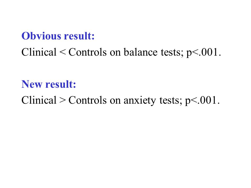 Obvious result: Clinical < Controls on balance tests; p<.001. New result: Clinical > Controls on anxiety tests; p<.001.