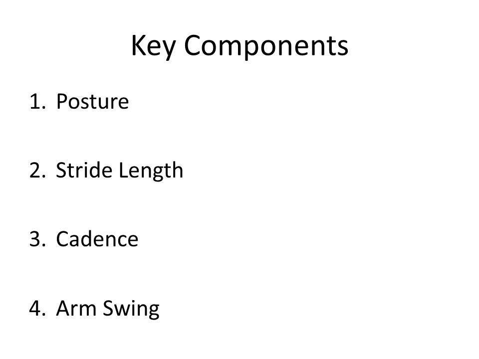 Key Components 1.Posture 2.Stride Length 3.Cadence 4.Arm Swing