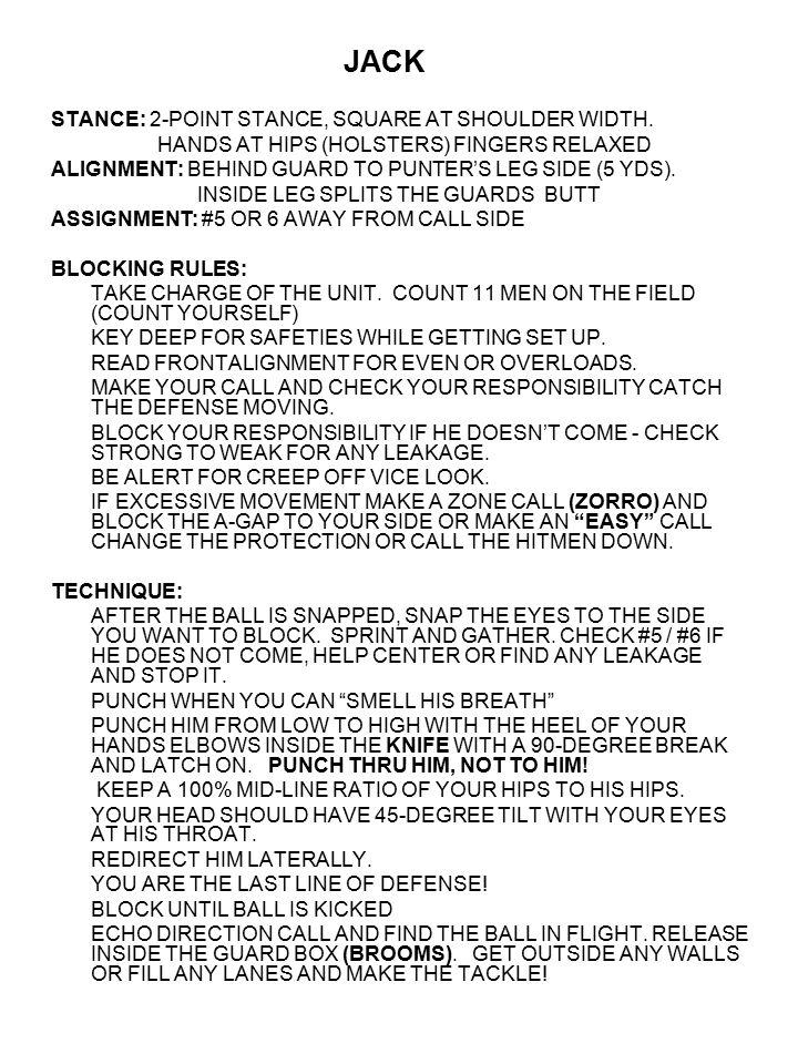 JACK STANCE: 2-POINT STANCE, SQUARE AT SHOULDER WIDTH.
