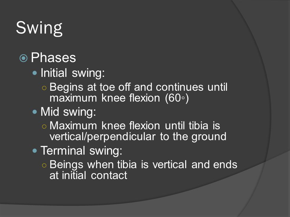 Swing  Phases Initial swing: ○ Begins at toe off and continues until maximum knee flexion (60◦) Mid swing: ○ Maximum knee flexion until tibia is vertical/perpendicular to the ground Terminal swing: ○ Beings when tibia is vertical and ends at initial contact