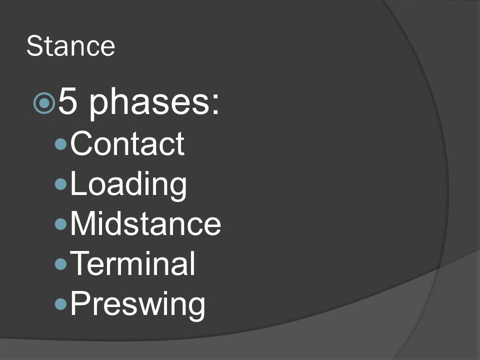 Stance  5 phases: Contact Loading Midstance Terminal Preswing