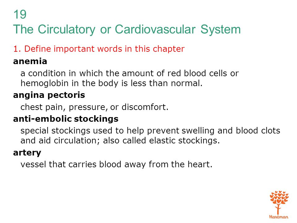 19 The Circulatory or Cardiovascular System 1. Define important words in this chapter anemia a condition in which the amount of red blood cells or hem