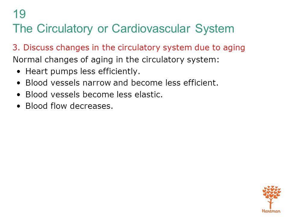 19 The Circulatory or Cardiovascular System 3. Discuss changes in the circulatory system due to aging Normal changes of aging in the circulatory syste